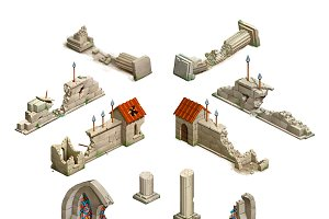 Set of medieval isometric buildings