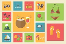 15 summer icons, flat set