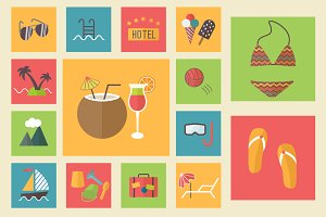 15 summer icons, flat set