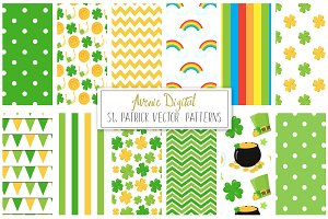St Patricks Digital Paper + Vectors