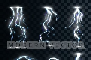 Set isolated realistic lightnings