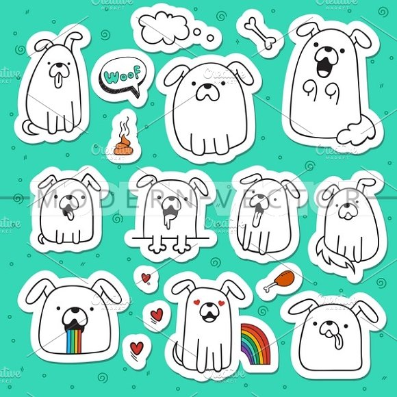 Set 10 dogs doodle handmade