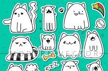 Set 11 sticker doodle cats
