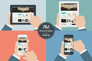 Flat Design Mock-Ups Phone & Tablet