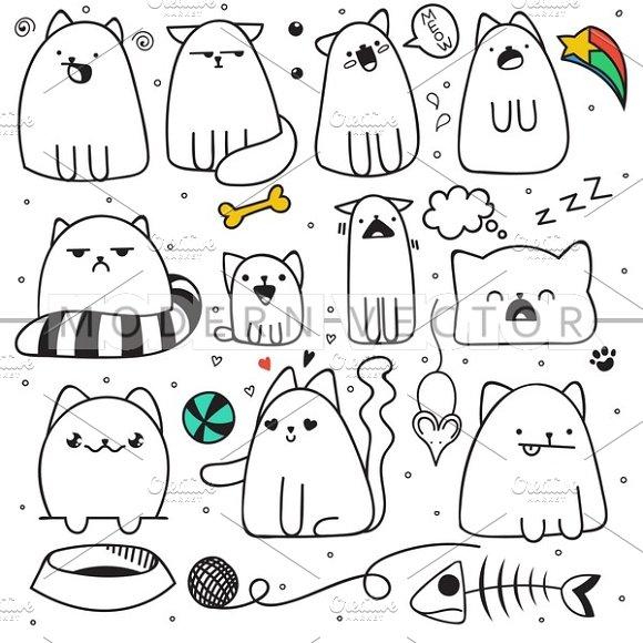 Set 11 doodle cats