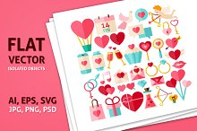 Valentine Day flat isolated objects