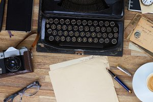 typewriter with paper note