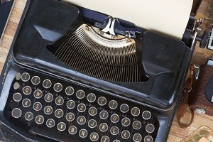 tabletop with typewriter