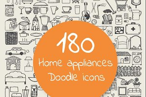 Home appliances doodle icons