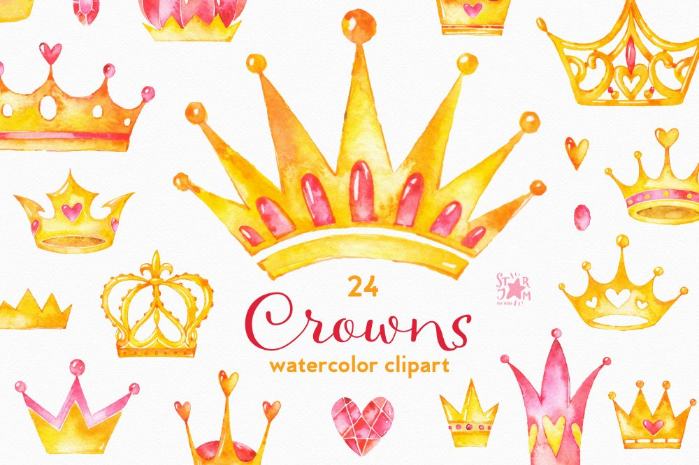 crowns watercolor clipart graphic objects creative market