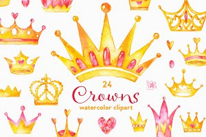 Crowns. Watercolor clipart