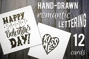 12 Romantic Lettering Posters Set