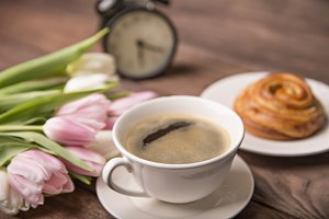 Coffee, flowers and sweets