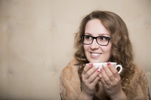 Woman with hot coffee