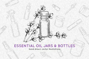 Essential oil jars and bottles