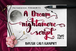 Nightamore Brush + Bonus Font