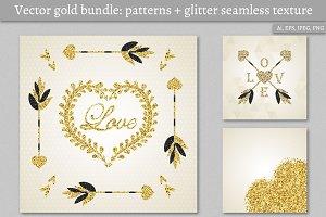 Vector gold bundle: cards, patterns