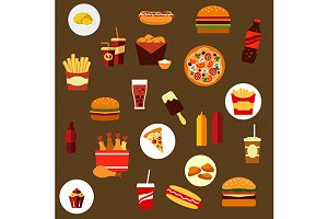 Takeaway and fast food flat icons