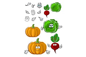 Funny cartoon isolated fresh veggies