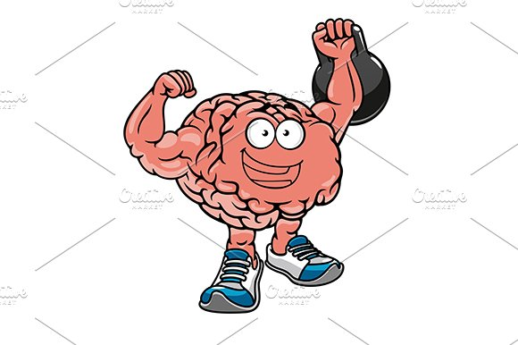 Cartoon brain with muscles