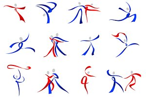 Modern dancers icons and symbols