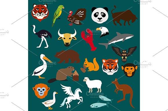 Animal and bird flat icons