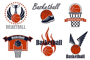 Basketball game sport icons