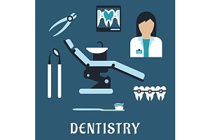 Dentist profession flat icons
