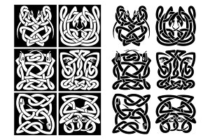 Snakes and reptiles celtic patterns