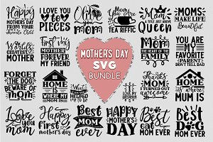 Free Mothers day simple hand drawn svg flower art word. Mother S Day Svg Bundle 30 Designs Pre Designed Illustrator Graphics Creative Market SVG, PNG, EPS, DXF File