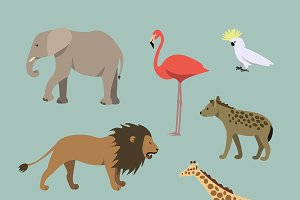 Set Of Different African animals