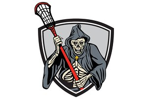 Grim Reaper Lacrosse Player Crosse