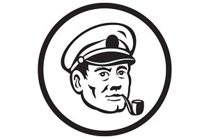 Sea Captain Smoke Pipe Circle Retro