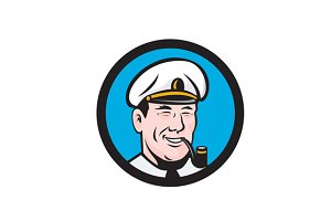 Smiling Sea Captain Smoking Pip