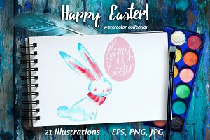 Happy Easter! Watercolor collection.