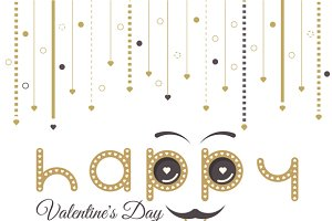 Valentines Day Card Moustache