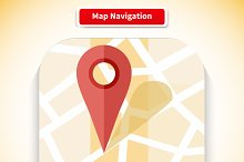 Map Navigation App Icon