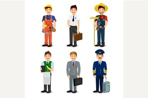 Set of colorful profession man