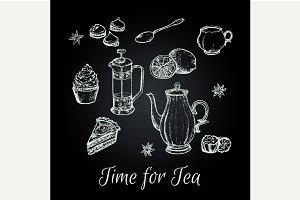 Hand draw tea party vector elements