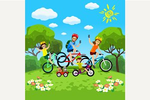 Family with kids concept of cycling
