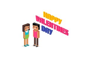 Valentine Day Couple 3d Isometric