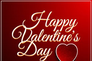 Set Valentines Day Vintage Lettering