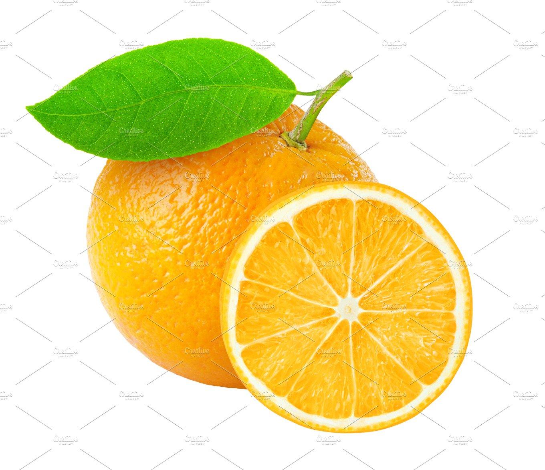 cut orange isolated food images creative market