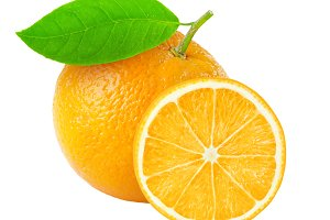 Cut orange isolated
