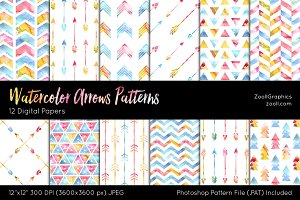 Watercolor Arrows Digital Papers