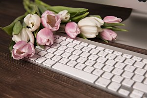 keyboard apple and pink tulips