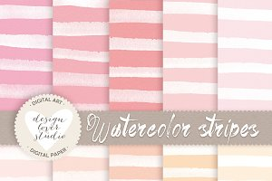 Watercolor stripes digital papers