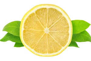 Slice of lemon with leaves isolated