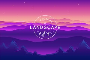Landscape - 6 Vector Backgrounds