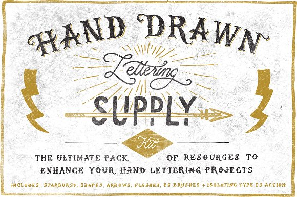 Hand Drawn Lettering Supply Kit Objects Creative Market